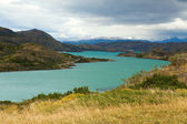 Scenic view of Pehoe lake in Torres del Paine national park, Chi — Stock Photo