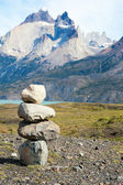 Stone stack in Torres del Paine national park of Chile — Stock Photo