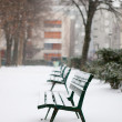 Winter in Paris. Benches in a park covered with snow — Stock Photo