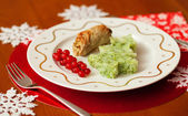 Decorated Christmas dining table with tasty veal and mashed pota — Stock Photo