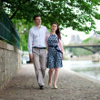 Stock Photo: Romantic couple is having stroll by Seine in Paris