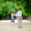 Dating couple n Luxembourg garden of Paris — Stock Photo