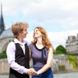 Stock Photo: Happy together in Paris, near Notre Dame