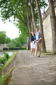 Joyeux couple danse sur le quai de la seine à paris — Photo