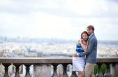 Sensual romantic couple is hugging on Montmartre in Paris — Stock Photo