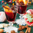 Stock Photo: Two glasses of mulled wine, cookies and variation of Christmas s