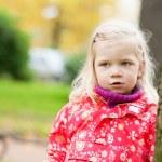 Outdoor autumn portrait of little girl — Stock Photo
