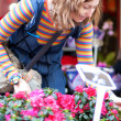 Beautiful young woman selecting flowers at market — Stock Photo #13809196