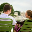 Romantic couple in Paris — Stock Photo