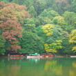 Boats on Katsura river at fall in Arashiyama, Japan — Foto Stock