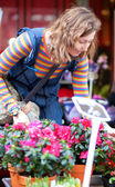 Beautiful young woman selecting flowers at market — Stock Photo