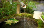 Japanese water source and ladle for the purification of hands — Stock Photo