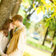 Royalty-Free Stock Photo: Outdoor autumn portrait of happy young couple