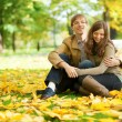 Young couple enjoying bright and warm autumn day in park or fore - Stock Photo