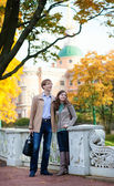 Romantic couple outdoors by fall — Stock Photo