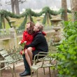Stock Photo: Romantic couple in a park at spring, dating