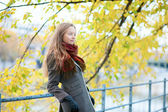Young blond girl enjoying beautiful fall or spring day — Stock Photo