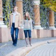 Couple walking by the beautiful grill of Mikhailovsky (Michael) - Stock Photo