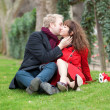 Stock Photo: Romantic couple sitting on the grass and kissing