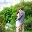 Royalty-Free Stock Photo: Sensual romantic couple is hugging in park on Montmartre in Pari