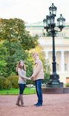 Happy romantic couple in Saint-Petersburg, Russia — Stock Photo