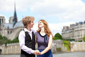 Happy together in Paris, near Notre Dame — Stock Photo
