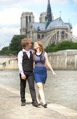 туристы в париже, проходя мимо нотр-дам — Стоковое фото