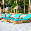 Deckchairs at the perfect white sand beach on Boracay, Philippin — Stock Photo