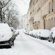 Stock Photo: Lots of snow in Paris. Cars covered with snow