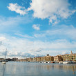View of the Old Port in Marseilles. Wide angle shot — Stock Photo