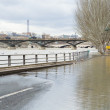 Seine is out of the banks in Paris at winter - Stock Photo