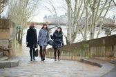 Three friends walking together near the Seine — Stock Photo