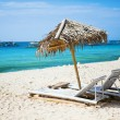 Deckchairs at the perfect white sand beach on Boracay, Philippines — Stock Photo