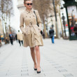Beautiful young woman on the Champs-Elysees — Stock Photo #22064005