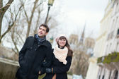 Happy couple in Paris, near Notre Dame — Stock Photo