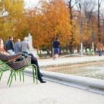 Girl enjoying beautiful autumn day in a park — Stock Photo