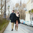 Romantic loving couple walking together in Paris — Stock Photo