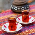 Black Turkish tea in traditional glasses — Stock Photo