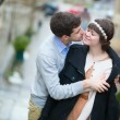 Romantic beautiful couple in Paris - Stock Photo