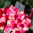 Fresh beautiful roses on a flower market — Stock Photo