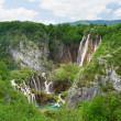 Stock Photo: Large waterfall at Plitvice lakes