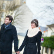 Dating couple walking on Montmartre — Stock Photo