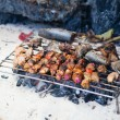 Stock Photo: Meet and fresh fish grilled on beach