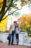 Dating couple on a fall day in Saint-Petersburg — Stock Photo