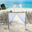 Stock Photo: Wedding arch and chairs on beach