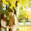 Outdoor autumn portrait of happy young couple — Stock Photo