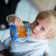 Little boy drinking juice from a bottle — Stock Photo