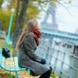 Beautiful girl in Paris on a fall day — Stock Photo