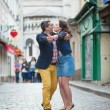 Couple dancing on Montmartre — Stock Photo