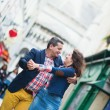 Couple dancing on Montmartre — Foto Stock